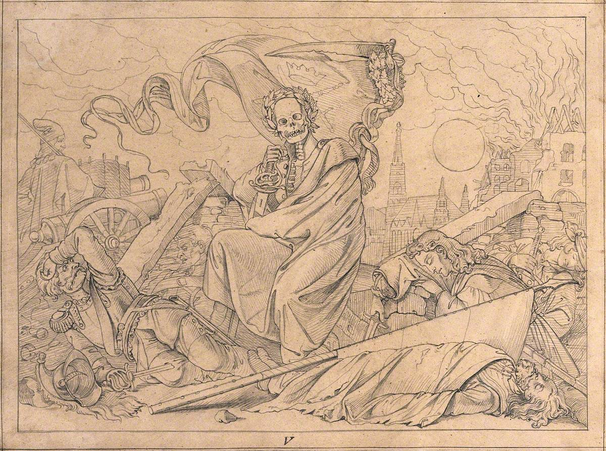The Dance of Death: The Fight Is Over and Death Is Seen Seated, Enthroned on Ruins Composed of Rubble and the Dead