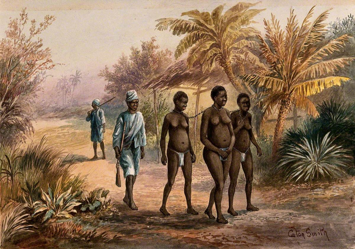 Three Young Women Chained Together at the Neck (Enslaved?) Are Being Escorted along a Road by Two Men with Guns (Slave Traders?)