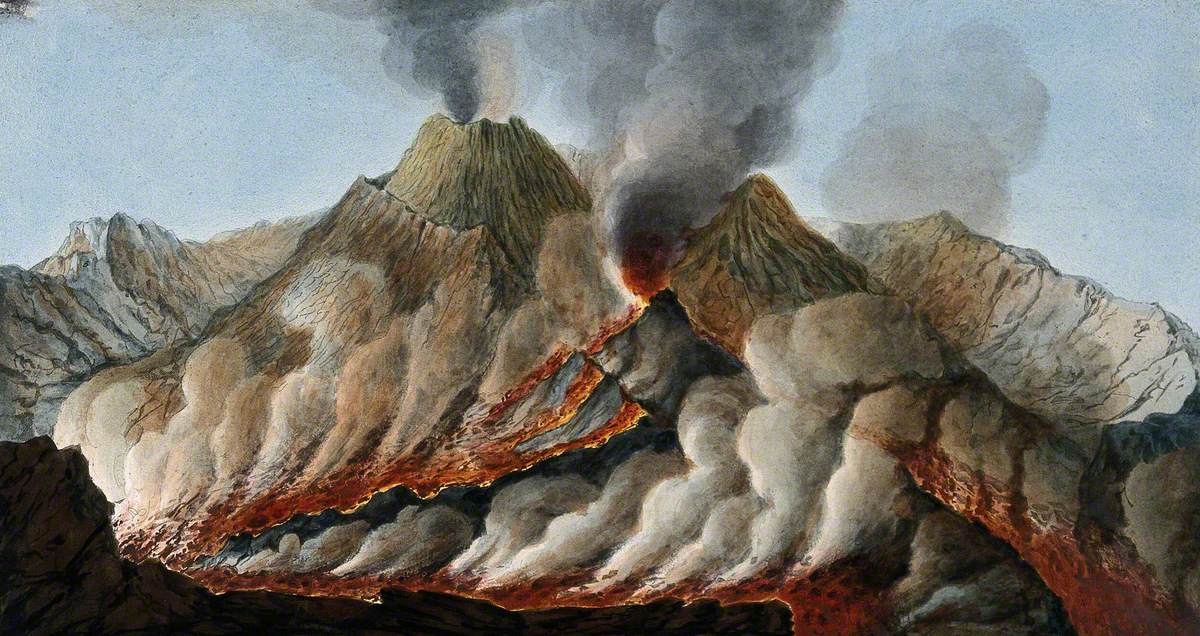 Mount Vesuvius: Interior of the Crater Showing the Flow of Lava in an Eruption