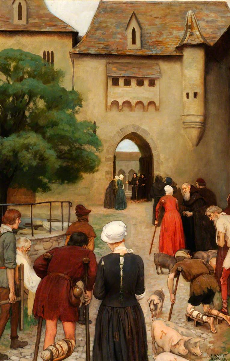 Abbaye of Saint Antoine, Sologne, France: Pilgrims Suffering from St Antony's Fire Approach the Infirmary