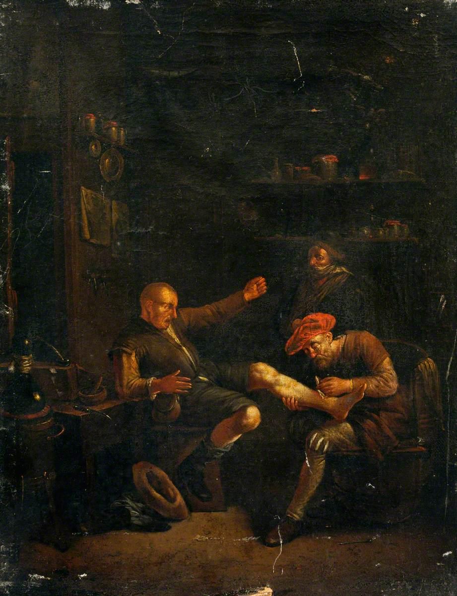 A Surgeon Treating a Man's Foot