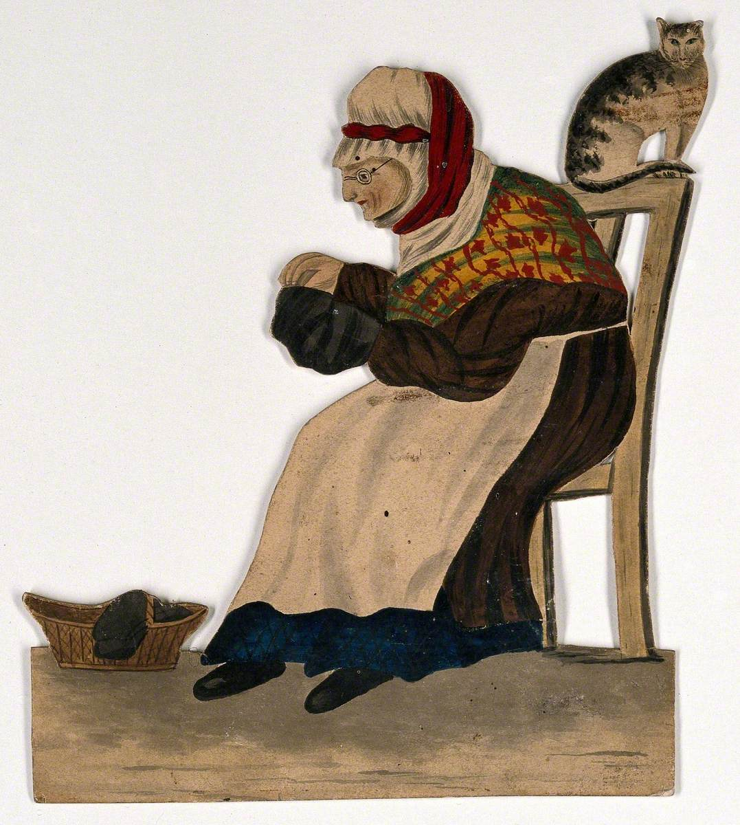 An Old Woman Seated, Sewing, with a Cat on the Back of Her Chair
