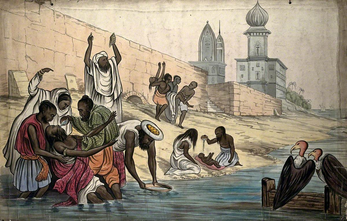 The Death of Hindoos on the Banks of the River Ganges