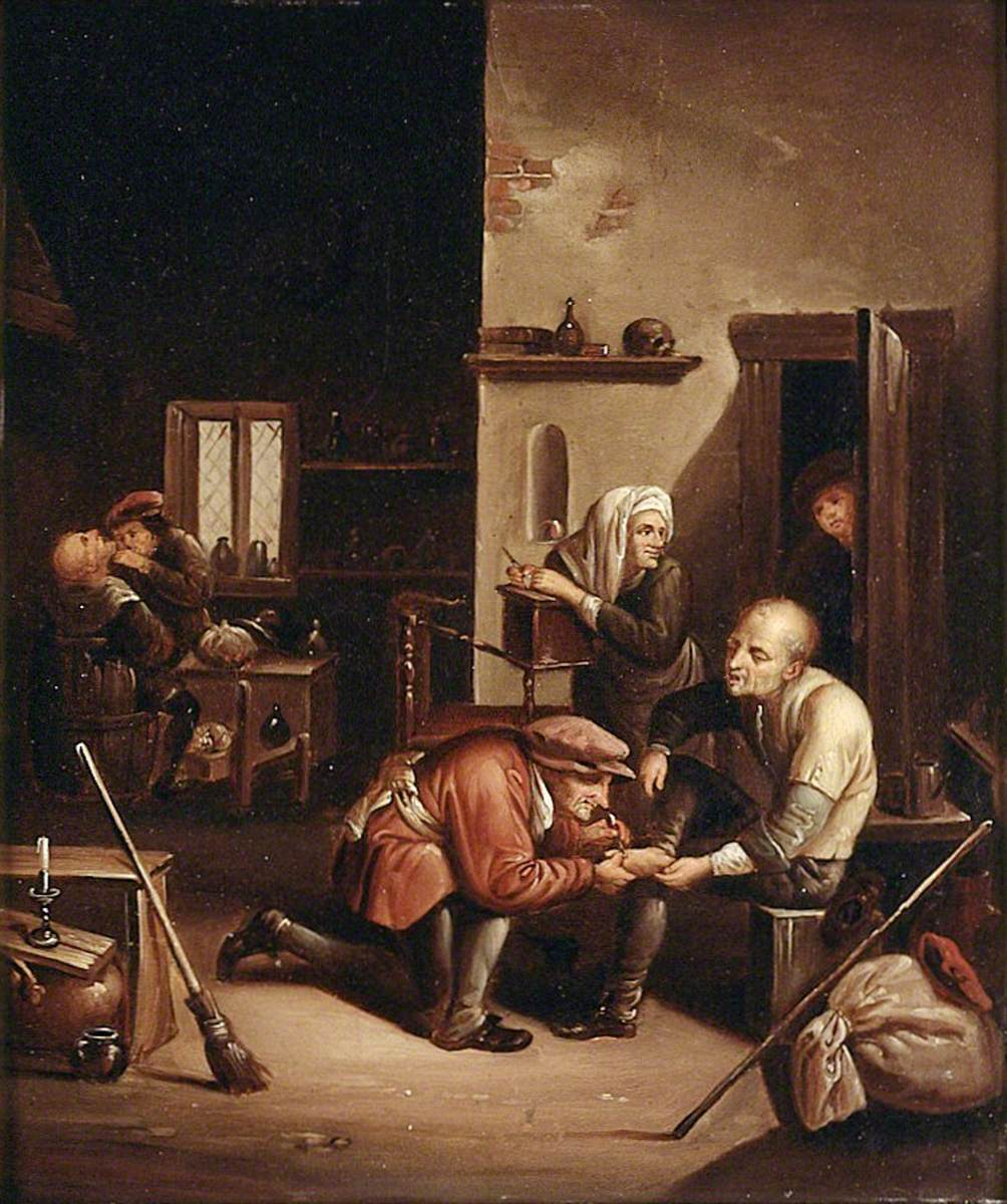 A Surgeon Treating a Patient's Foot and a Barber Shaving a Man