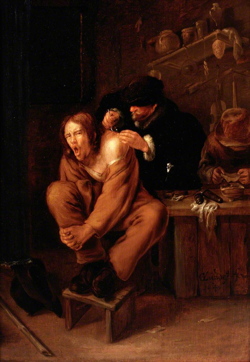 A Surgeon Applying Medicine to a Wound in the Shoulder of a Man in Pain