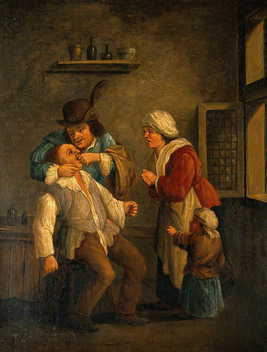 A Toothdrawer Operating on a Man, with a Woman and Child Looking On