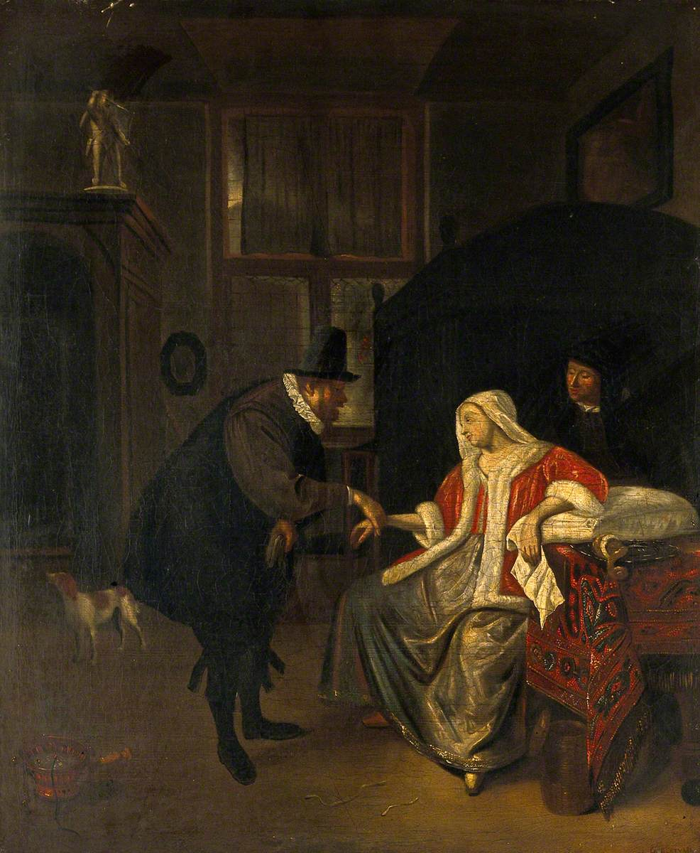 A Physician Taking the Pulse of a Lovesick Girl