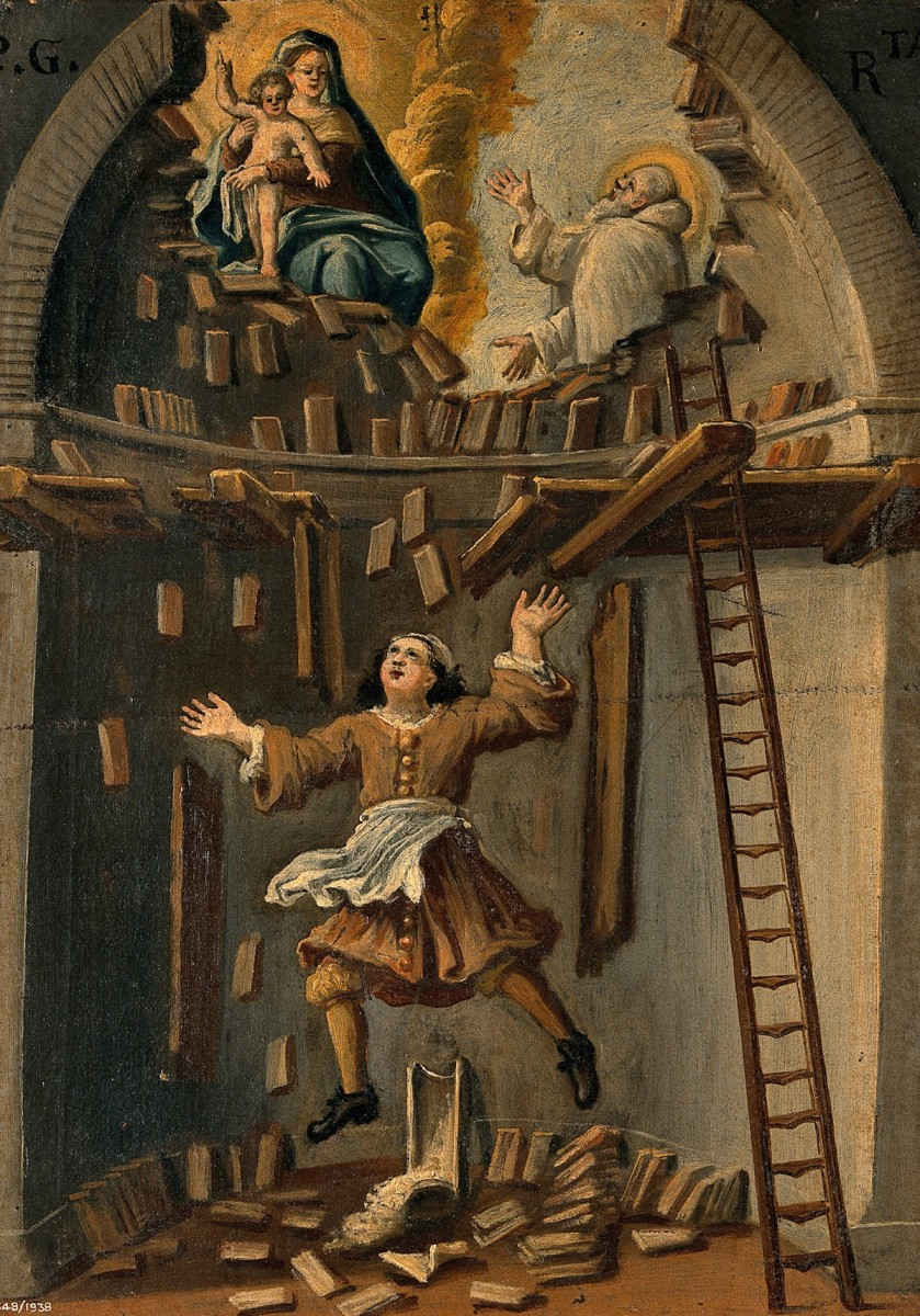 A Builder Falling from a Platform in an Apse, with Saint Bruno (?) Interceding with the Virgin and Child