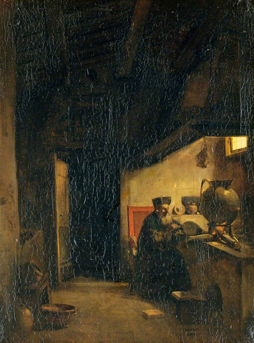 An Alchemist Applying Bellows to a Furnace
