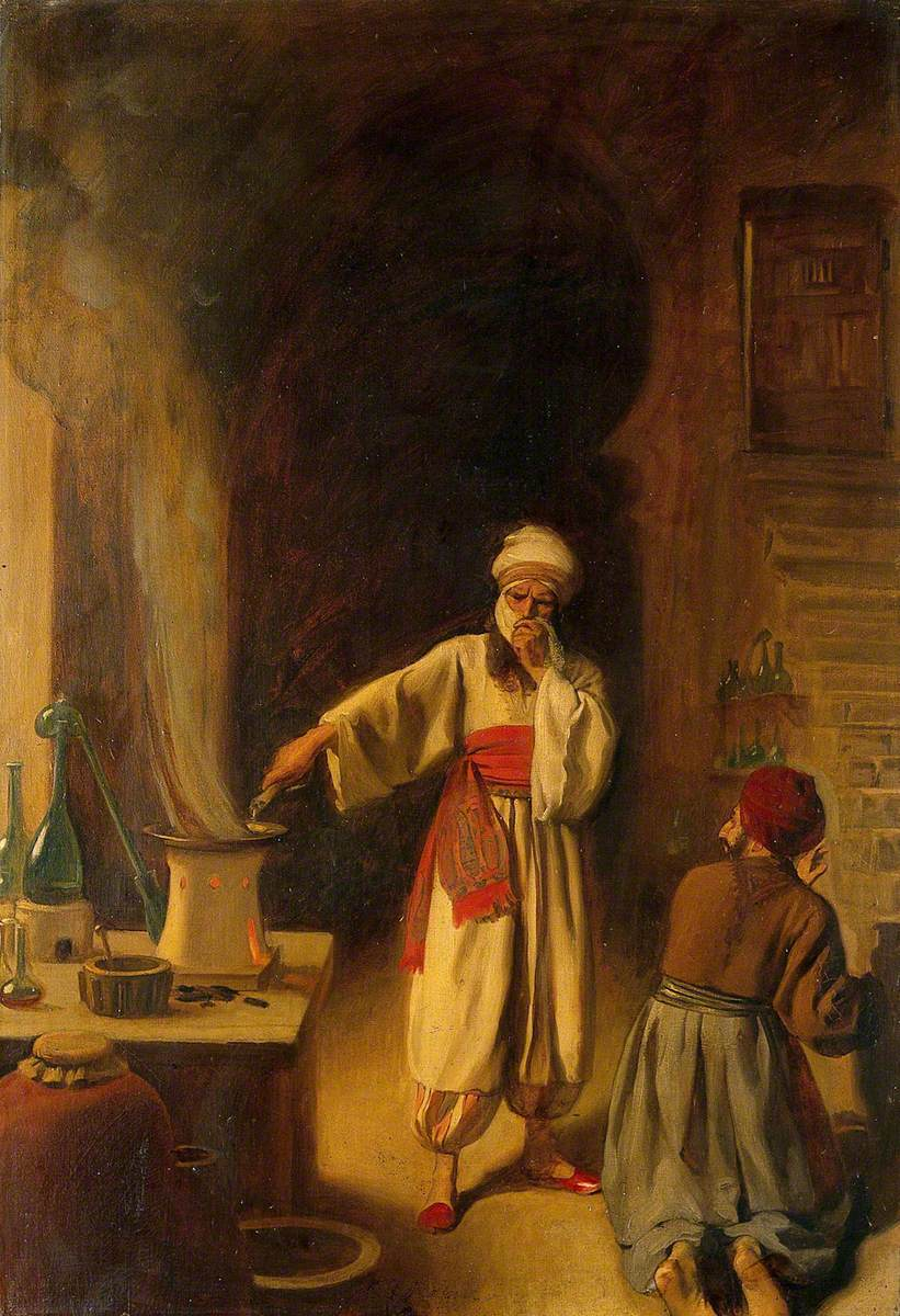 Rhazes, Persian Physician and Alchemist, in His Laboratory at Baghdad