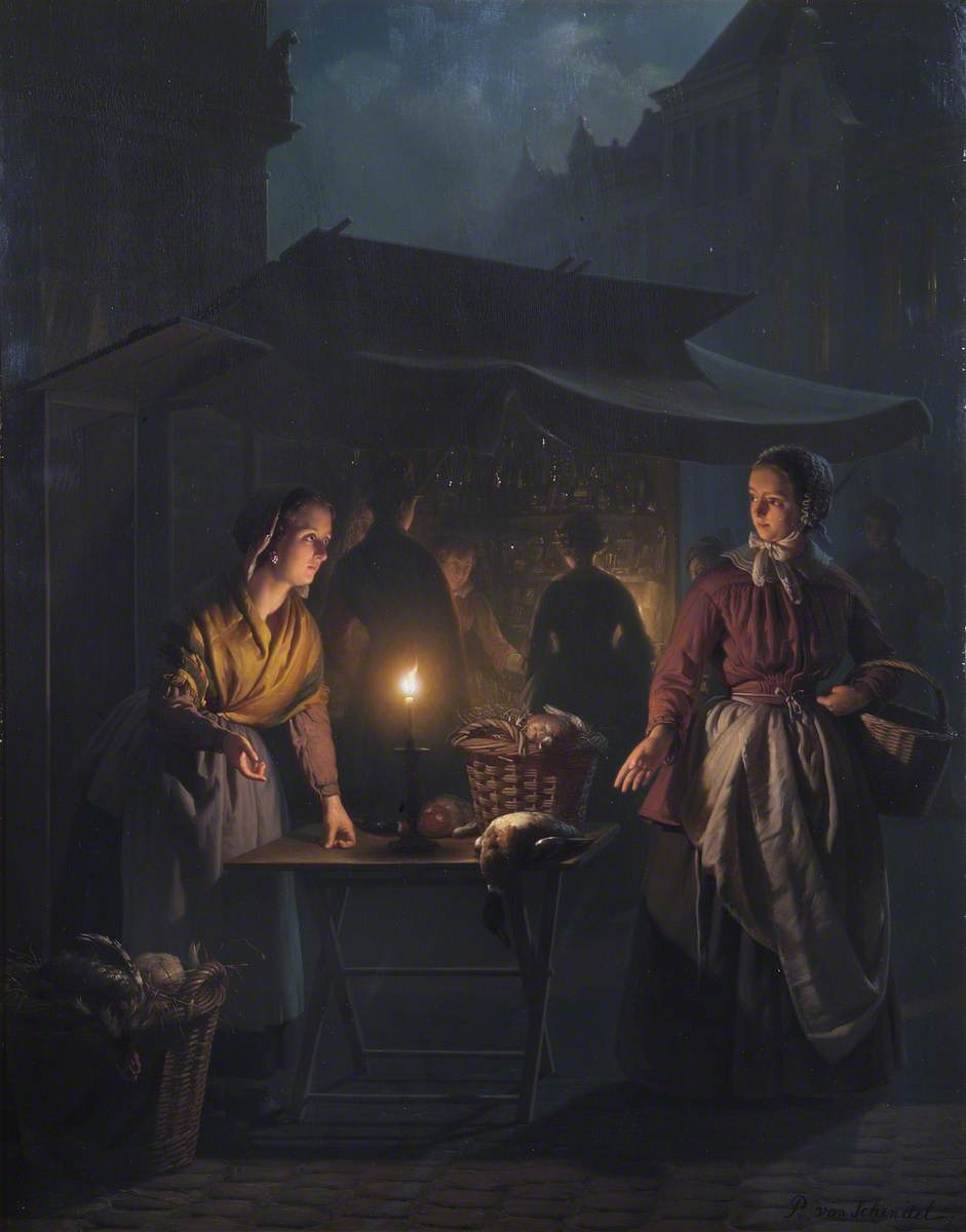 A Market Scene at Night