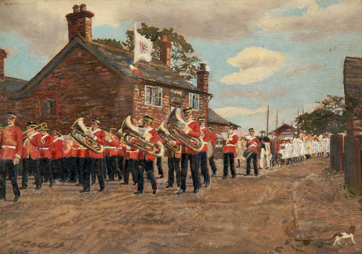 The Volunteers Band Marching Past the Greyhound Public House in Altrincham
