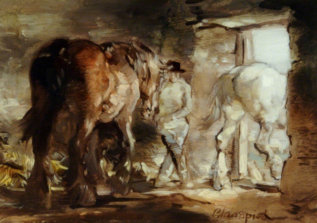 Horses Leaving a Stable