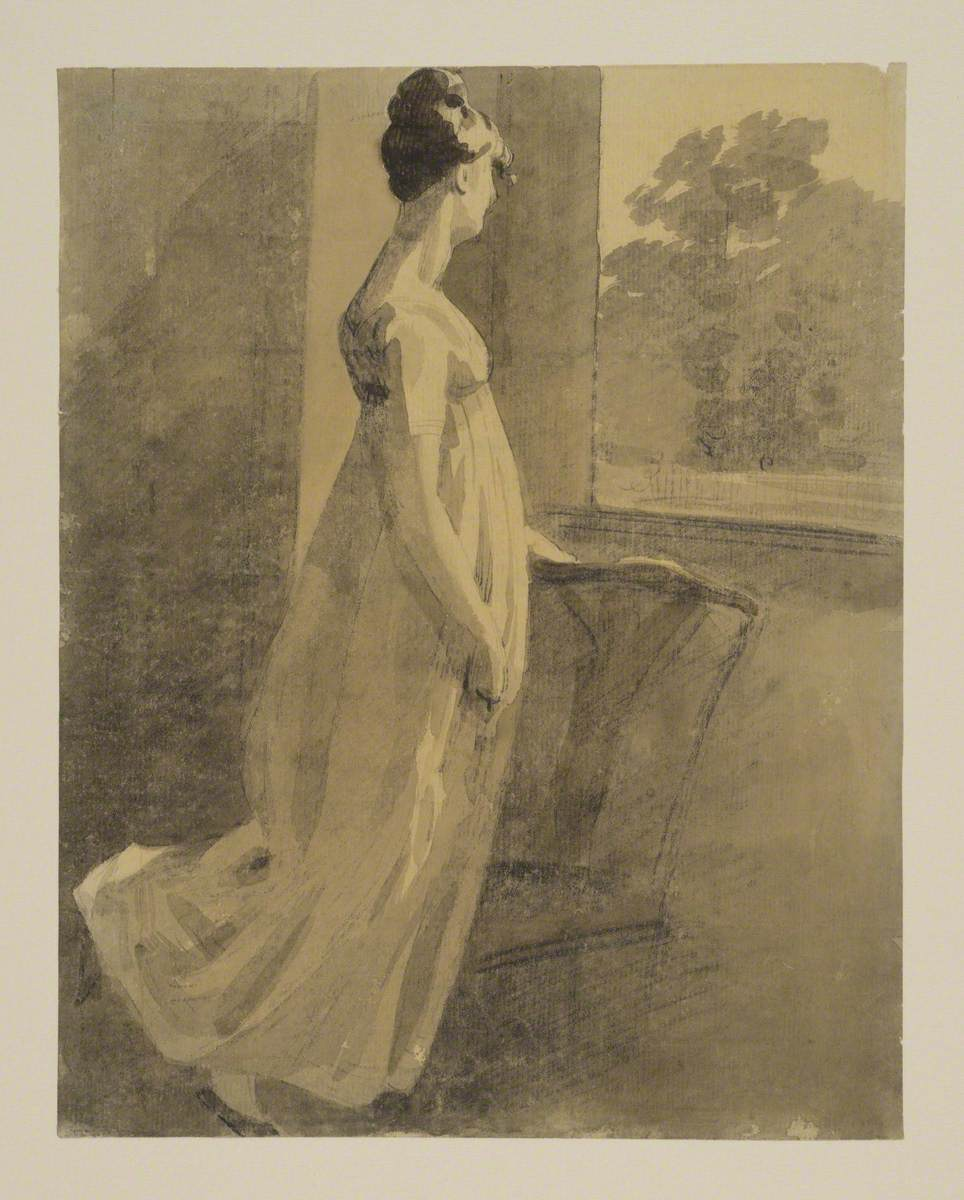 Woman Resting against a Chair and Looking through a Window