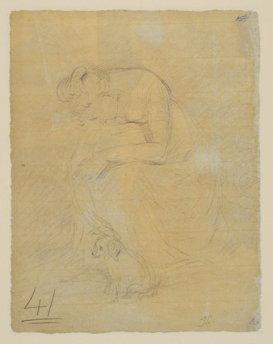 Woman Seated, with a Dog at her Feet