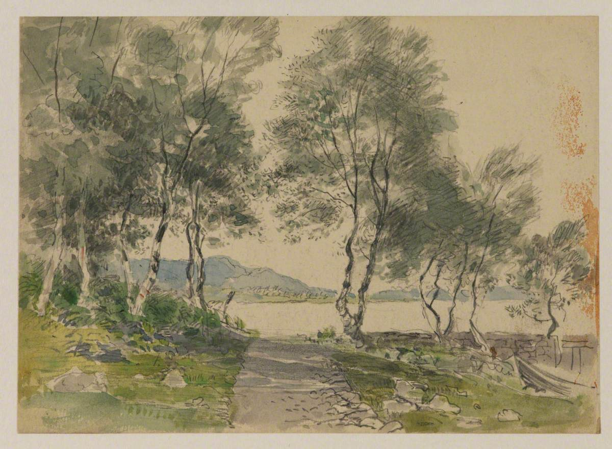 View of a Lake through Trees – Harbour at Brantwood (?)