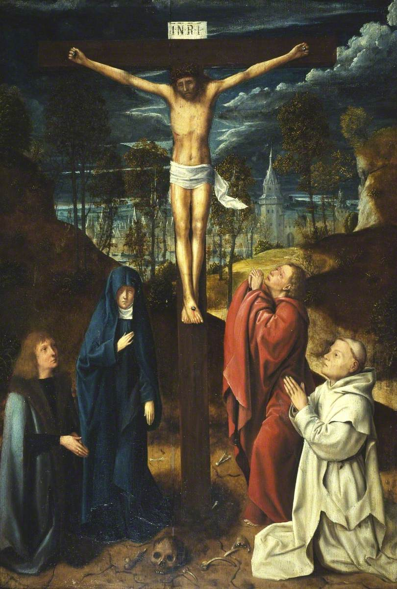 Christ on the Cross between the Virgin, Saint John and Two Donors