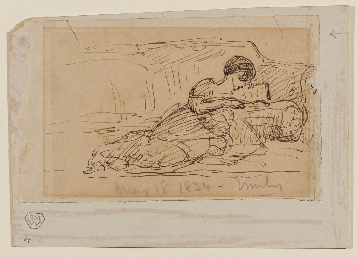 Artist's Daughter, Emily, Lying on a Sofa Reading