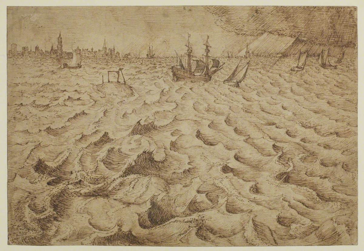A Storm on the River Schelde with a View of Antwerp