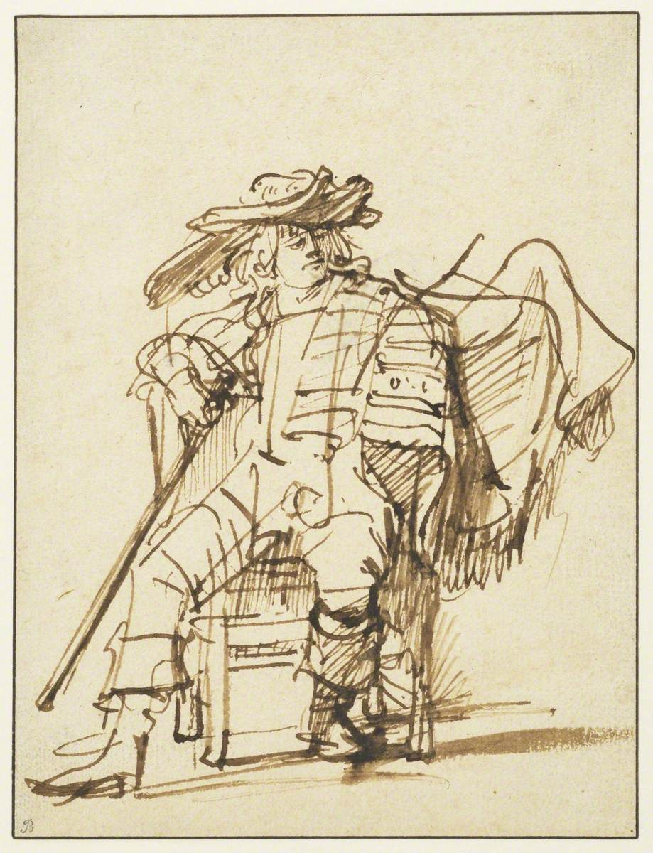 Study of a Seated Actor in a Plumed Hat – Capitano from the Commedia Dell'Arte