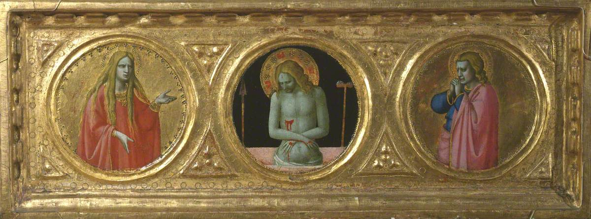 Christ as Man of Sorrows Flanked by Saint Mary Magdalene and Saint John the Evangelist