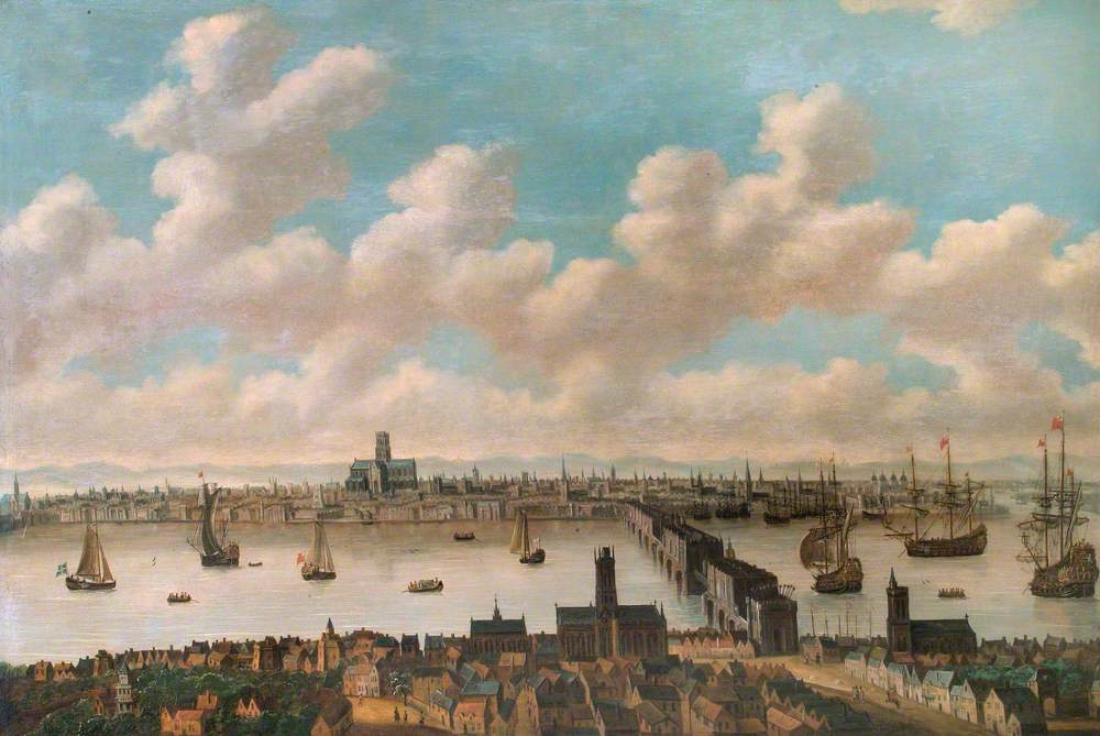 View of London from the South Side of London Bridge Showing Old St Paul's Cathedral