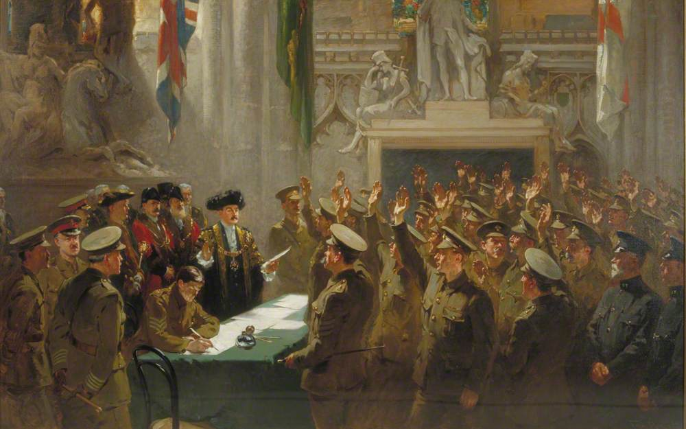 Recruiting in the Guildhall, London, by Sir Charles Wakefield