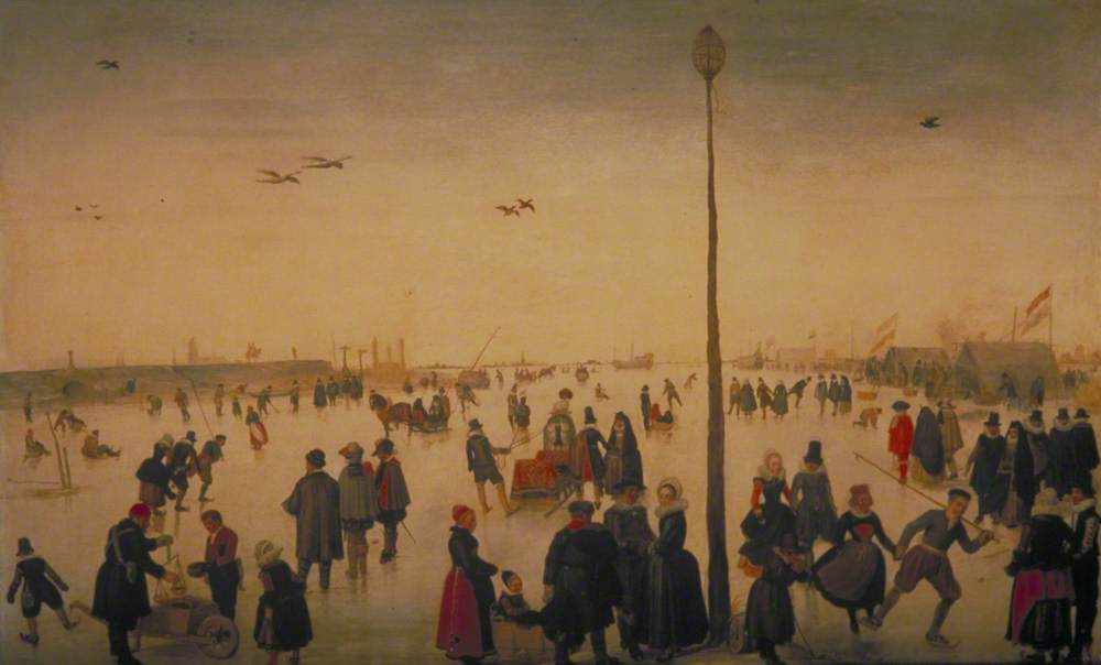Winter Landscape with a Frozen River and Figures