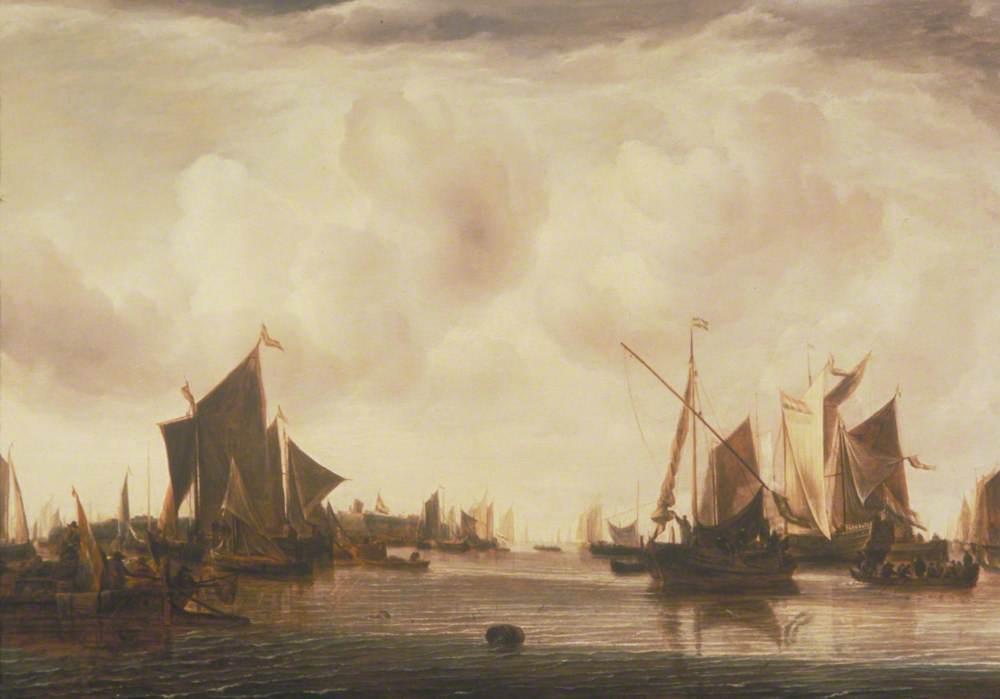 Ships at Anchor in a Calm