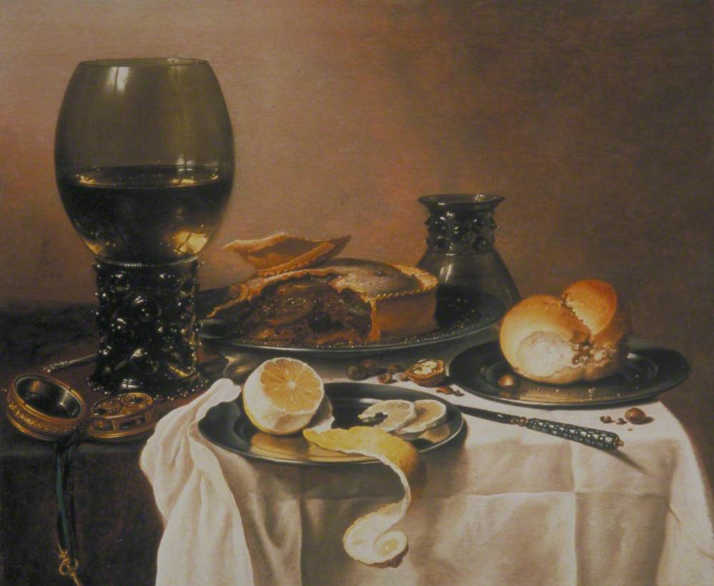 Breakfast Still Life with Roemer, Meat Pie, Lemon and Bread