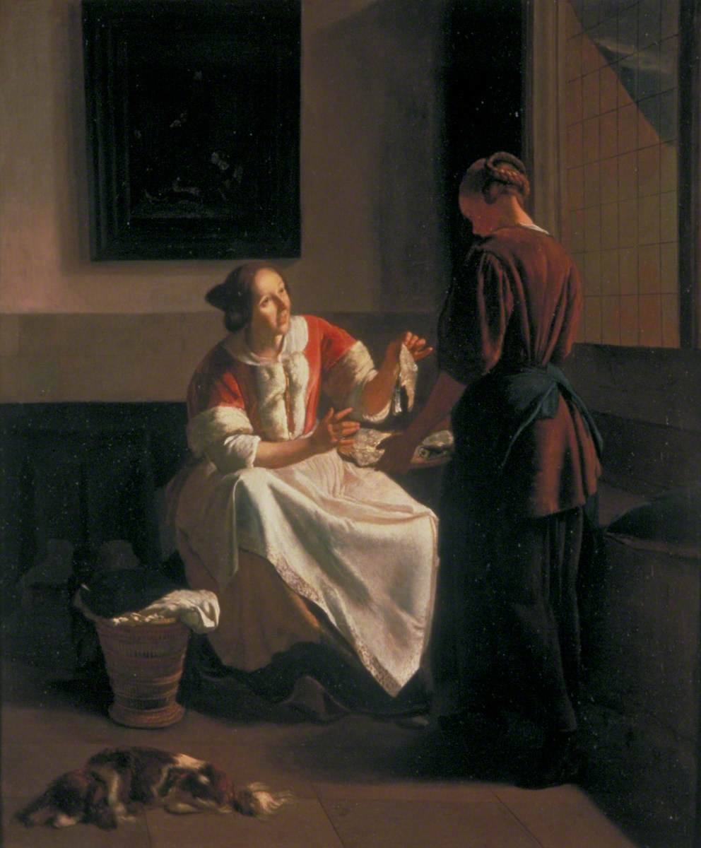 A Lady and Maid Choosing Fish