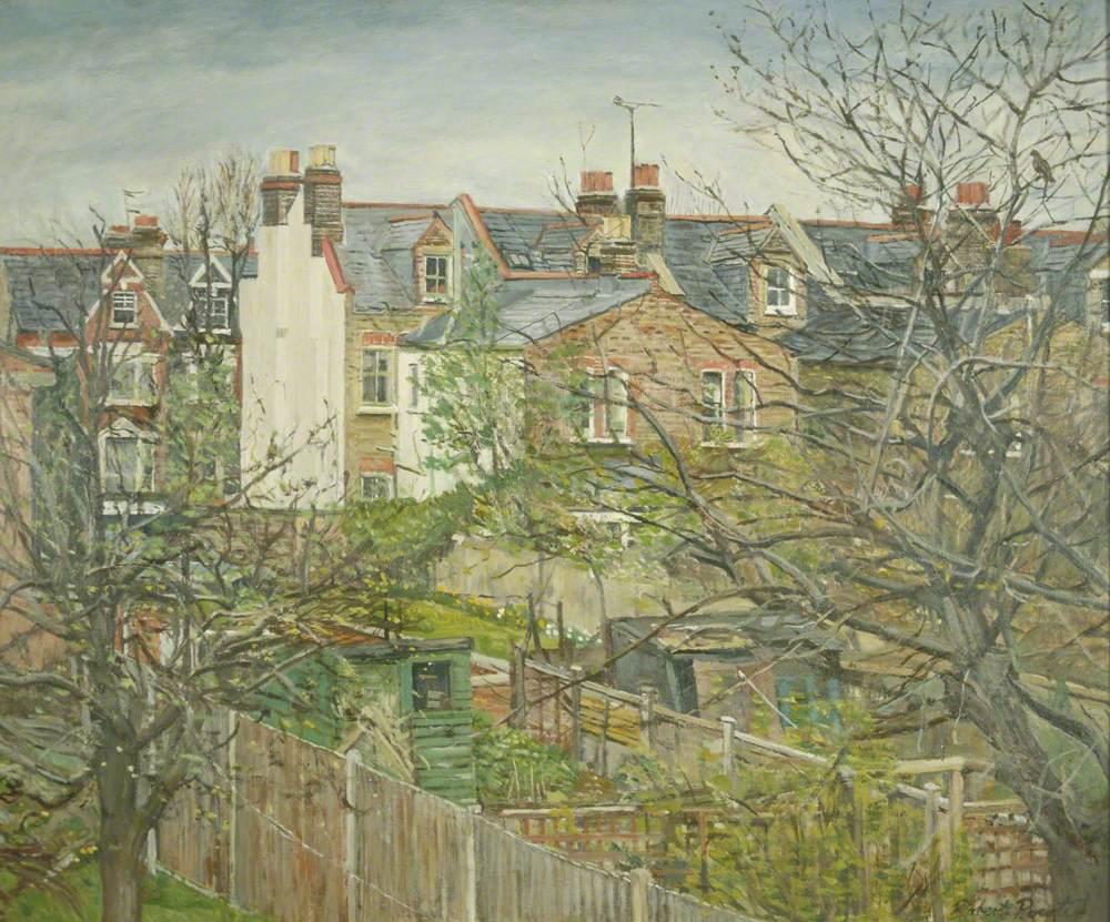 Rear gardens at Earlsfield Road, Wandsworth, London