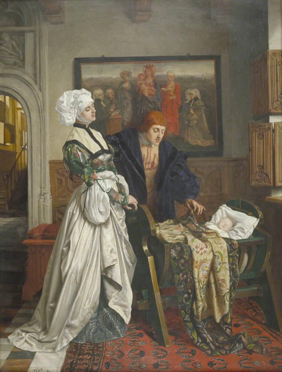 Charles V and Jeanne Vandergeynst at the Cradle of Their Daughter, Marguerite