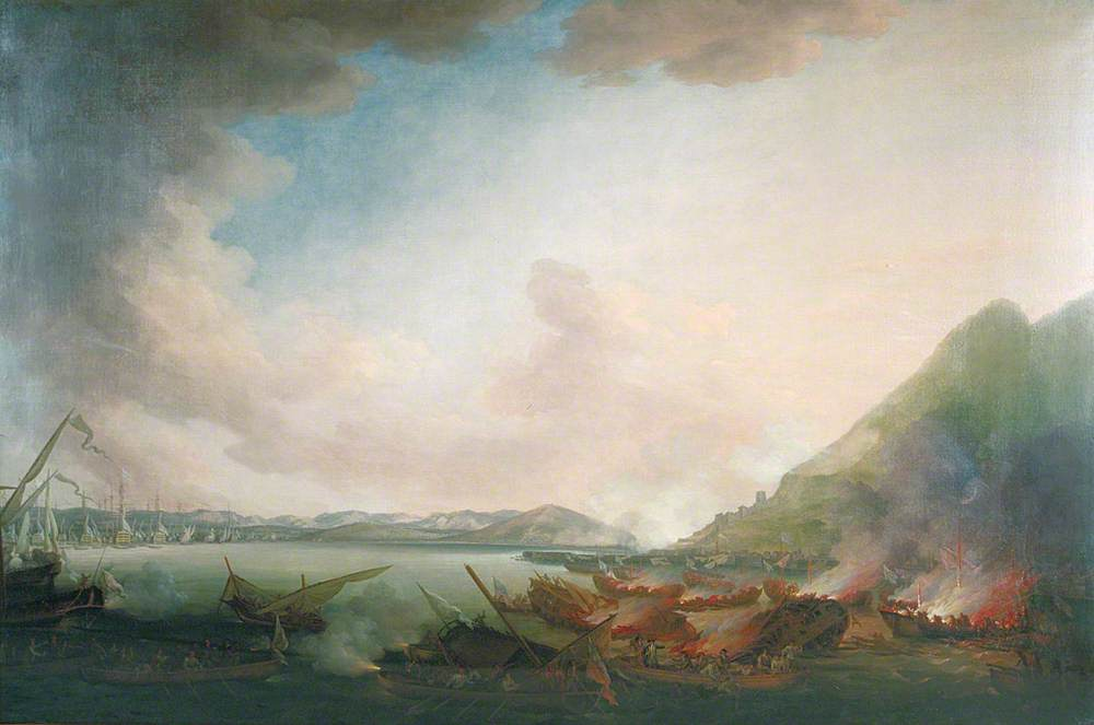 The Defence of Gibraltar, with the English Taking up the Spanish and French Sailors in Distress, 14 September 1782