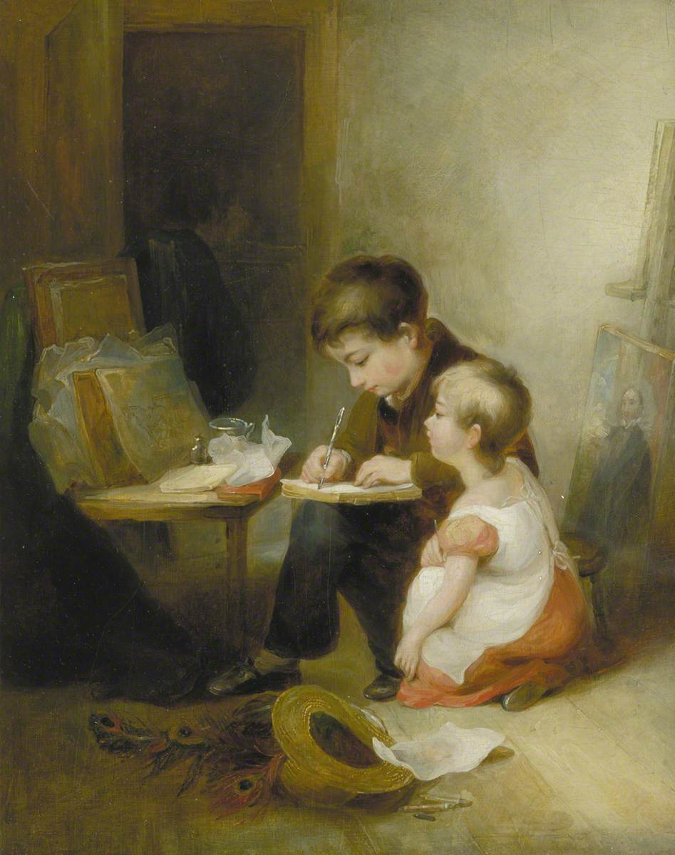 Two Children at Drawing Lessons