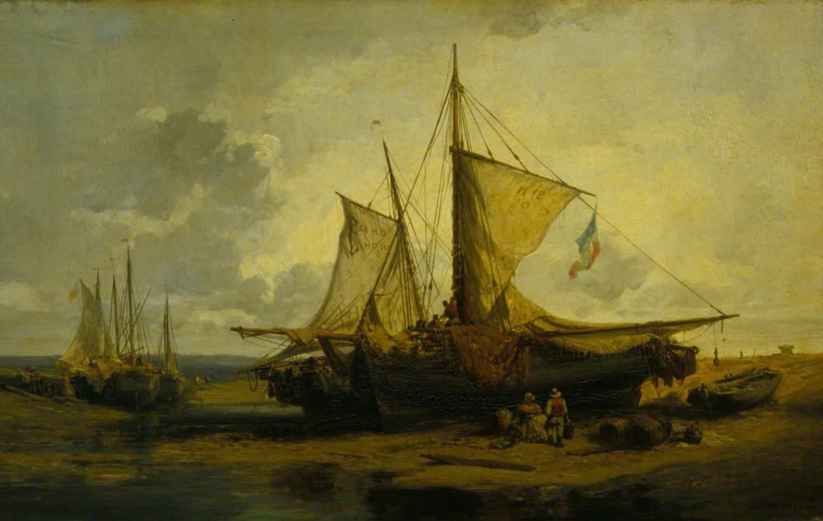 Beach Scene with Fishing Boats