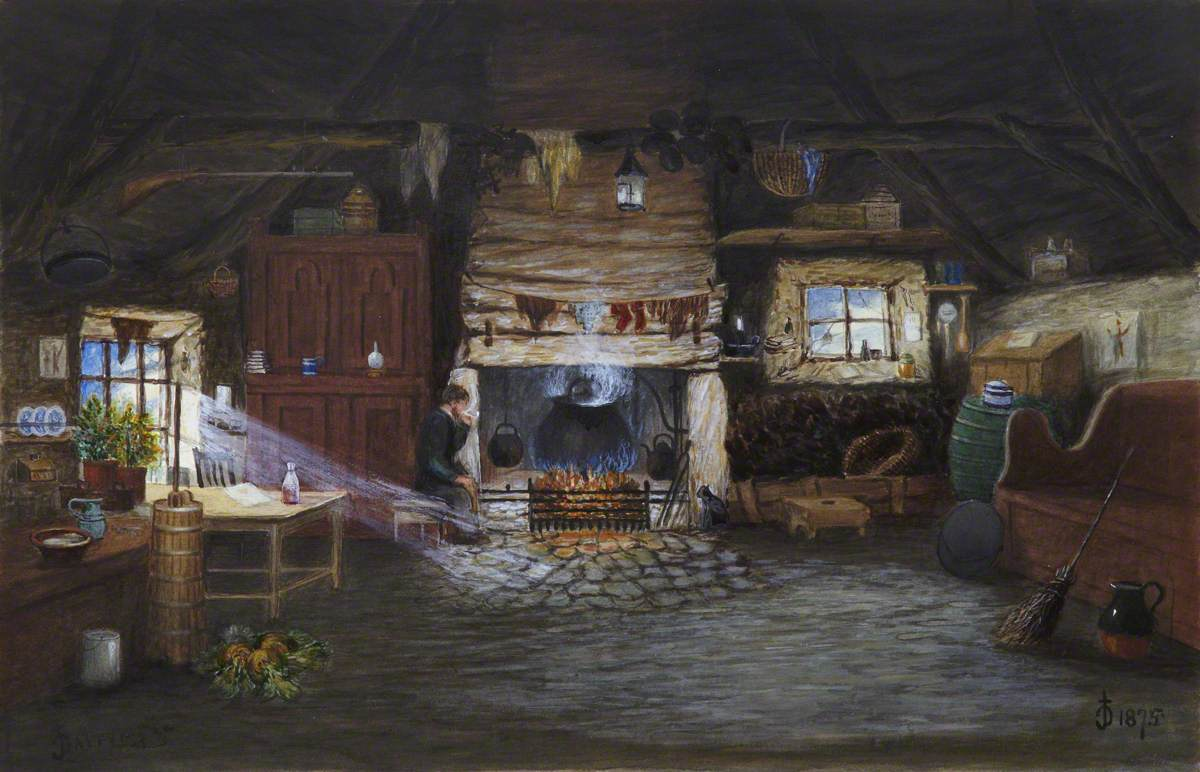 Man Smoking a Pipe in a Cottage Interior (Dairy Scene)