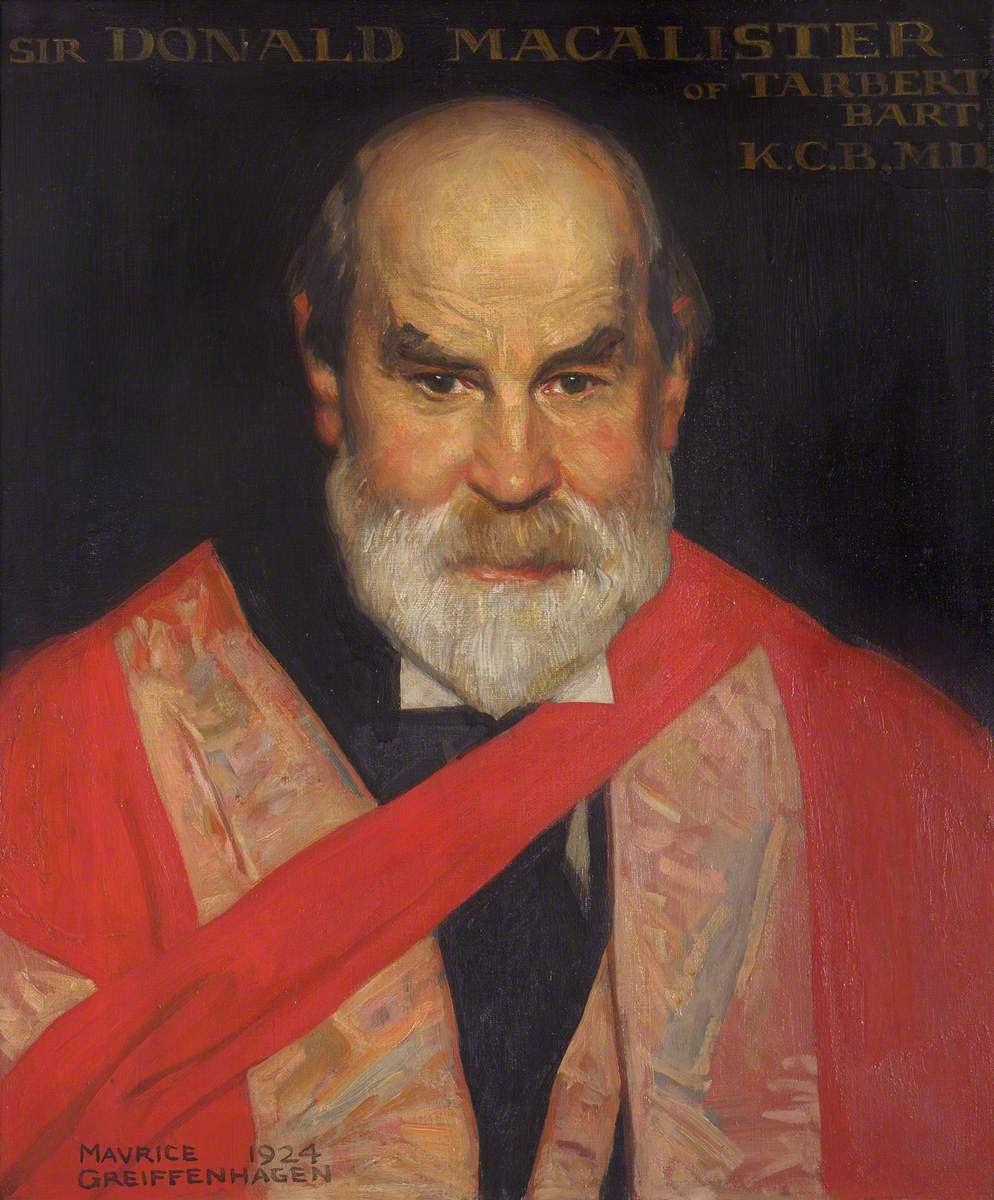 Sir Donald Macalister of Tarbert (1854–1934) Bt, Fellow, Principal at the University of Glasgow (1907), Chancellor of the University (1929)