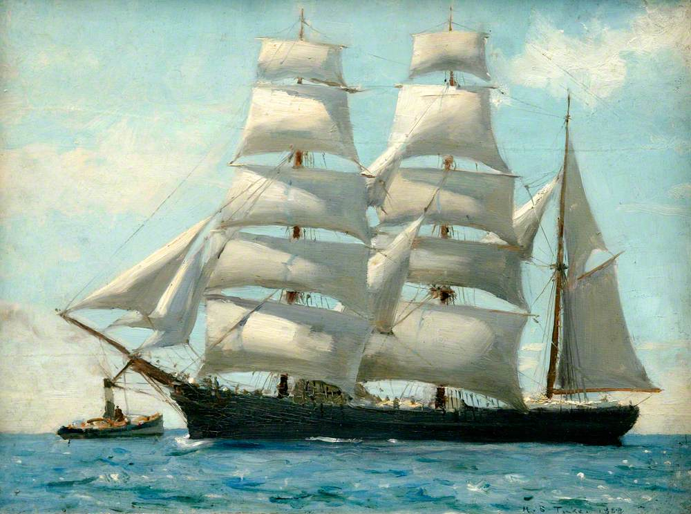 Barque in Full Sail Dropping Her Tug