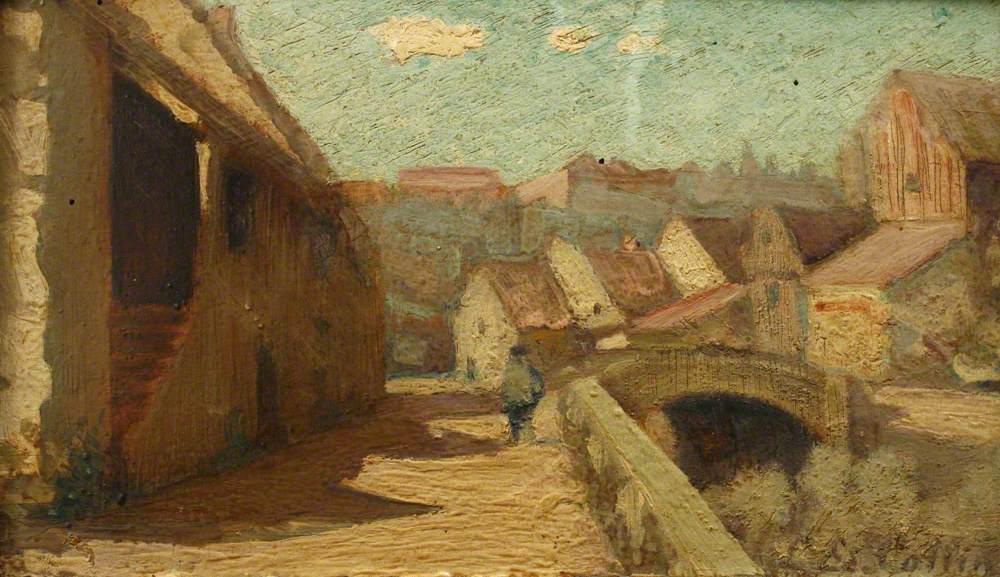 Man Walking beside a Canal