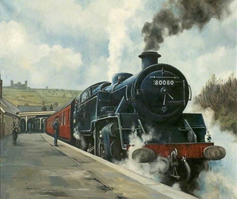 British Railways Standard Tank Steam Locomotive 80080 Passing through a Railway Station