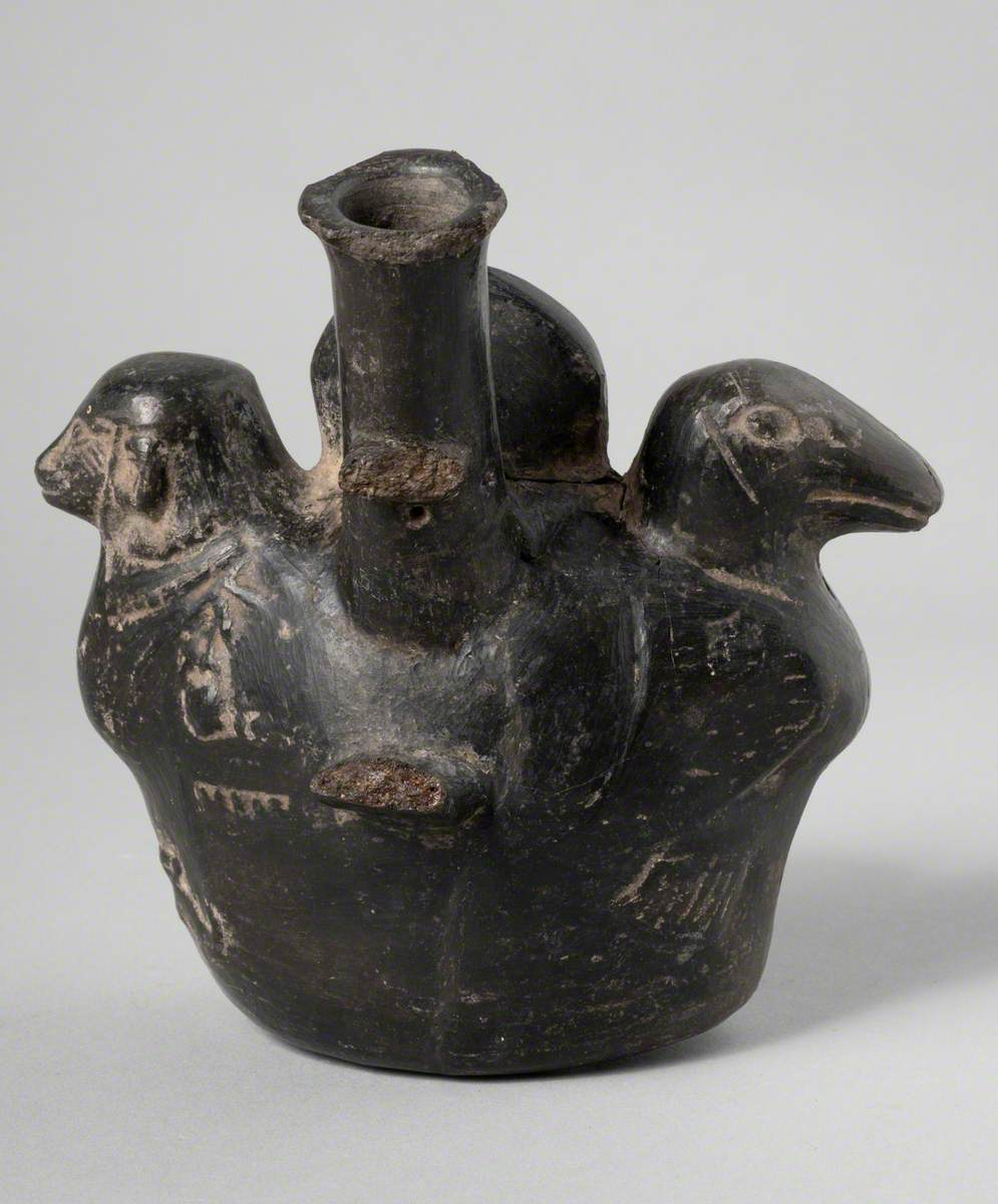 Chimu Vessel with Two Animals and a Human