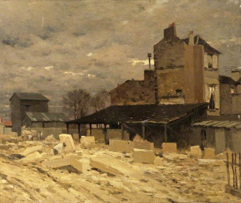 Stone Yard, Old Houses in Paris, France