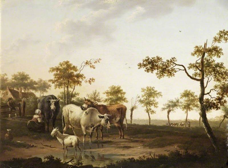 Cows with a Goat in a Landscape