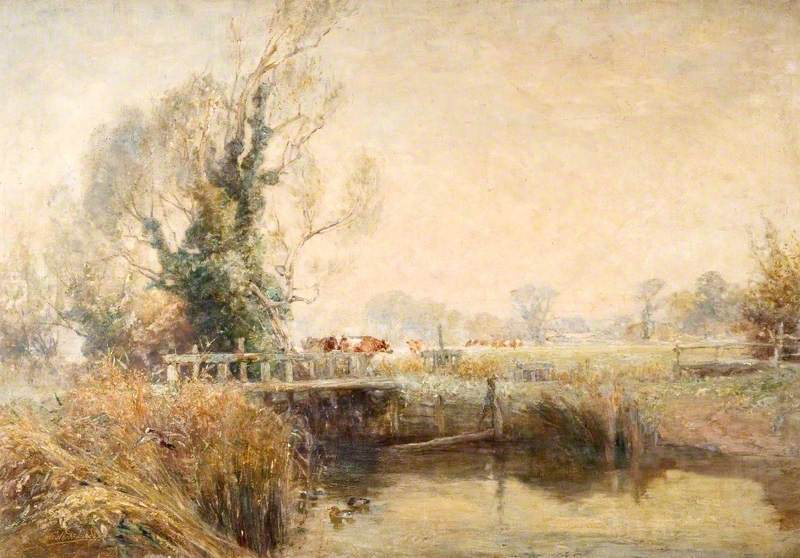 Bridge over the Frome with Hatches and Cows, Cottage in the Distance