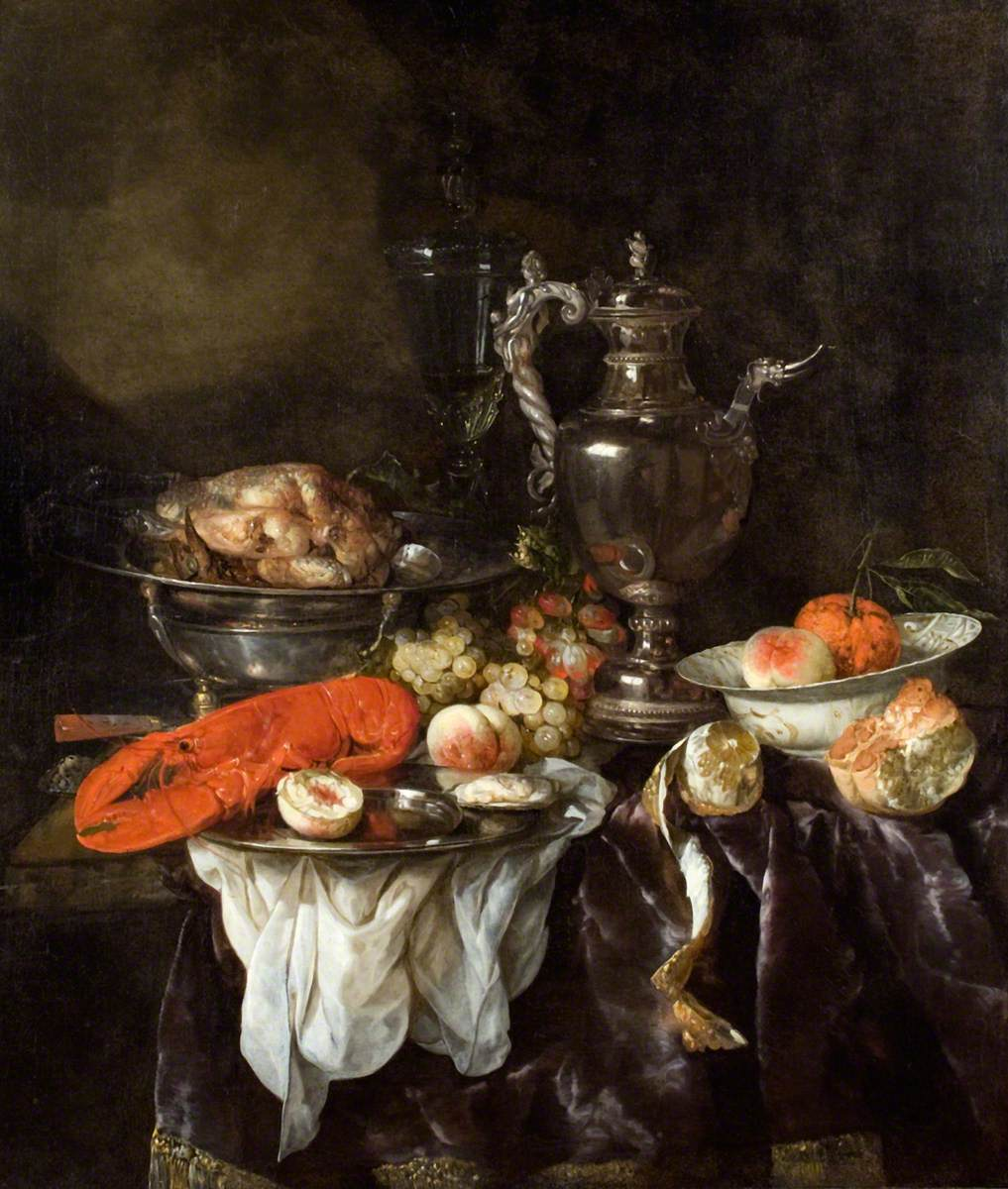 Still Life with a Lobster, Fruit, Silver and China Ware