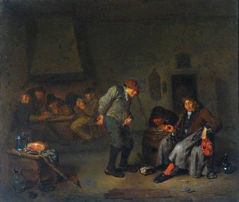 Boors Carousing and Playing Cards