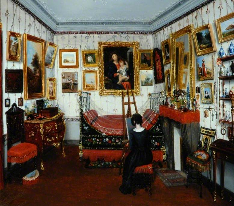 Interior of a Room with a Lady Painting