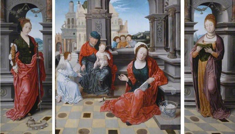 The Holy Family with Saint Catherine and Saint Barbara