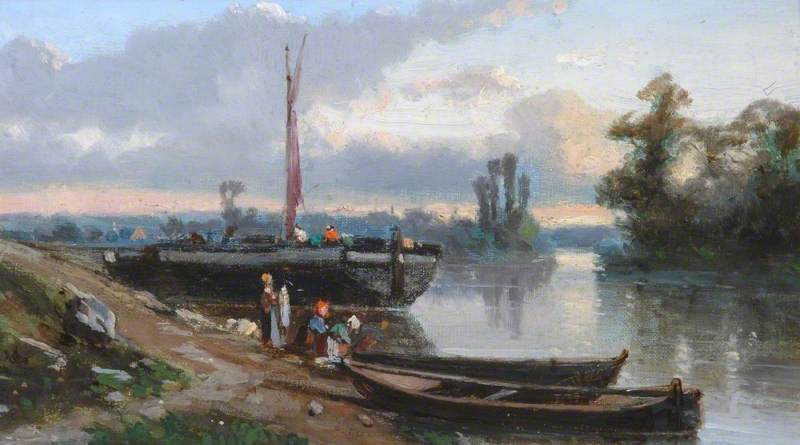 Landscape with Boats Tied up on a Riverbank